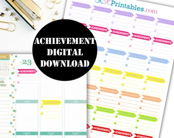 Achievements Printable Planner Stickers // Erin Condren Printable / Plum Paper Planner / Planner Insert Instant Digital Download 00025