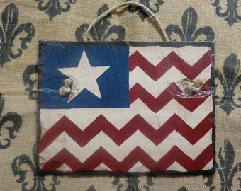 American Flag Hand Painted Slate - Americana Wall Decor - 4th of July - Memorial Day - Primitive Flag - Hand Pianted Flag - America Art