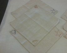 Set of 6 napkins, seashels hand painted
