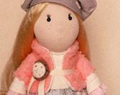 Rag dolls handmade Doll Luce pink Cream doll gray.