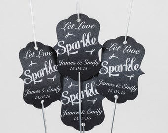 "120 x 18"" Large Gold Sparklers with personalise Let Love Sparkle tags available in over 30 colours, Black and White text."