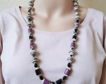 Purple and Black Paper Bead Necklace