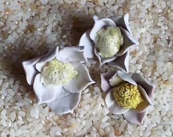 Handmade Artisan Ceramic Clay Porcelain White Flower Focal Bead