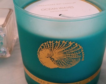 Ocean Waves Scented Candle - Turquoise Glass