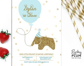 Modern Elephant Birthday Invitation / Eames Elephant Invite / Animal Invite / Balloon Dots  Gold Invite / *Digital file