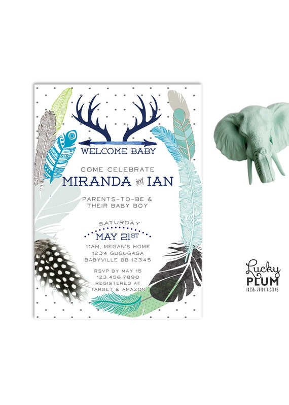 couples baby shower invitation deer baby shower invitation