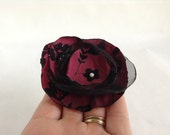 Red and Black Taffeta Velvet Organza Christmas Flower Clip  with Pearl