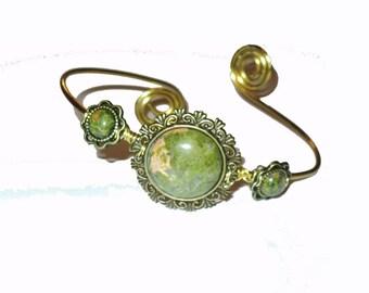 Unakite brass ethnic bohemian brass upper arm bracelet