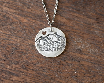 mountain love necklace - sterling silver mountain necklace - mountain pendant - mountain charm - i love mountain - mountain heart - sterling