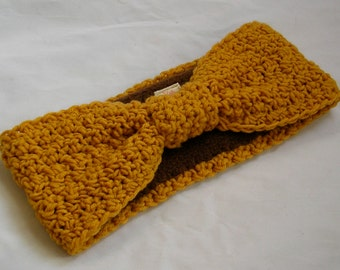 Crocheted Earwarmer with Fleece Lining Mustard Yellow Hollywood Starlet Turban Style  - READY to SHIP