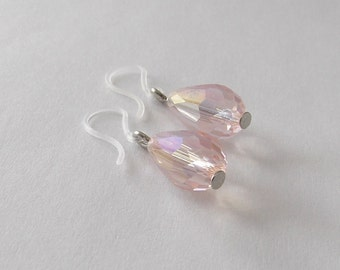 Dainty Summer Earrings. Pale Pink Crystal Tear Drops, Plastic Ear Hook, light pink dangle earring, Nylon Ear Wire, simple earring for girls
