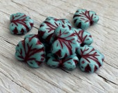 Glass beads - Czech glass beads - maple leaf beads turquoise picasso pack of 10