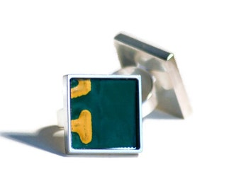 Dark Green Ring Square Silver License Plate Yellow LettersVintage Metal Adjustable