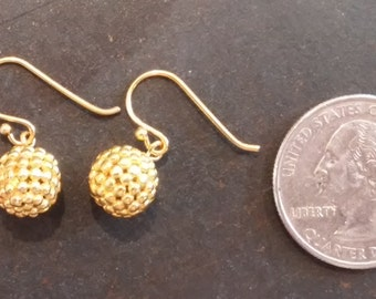 Sterling Silver with Gold Vermeil Cluster Ball Earrings, Petite Drop Charms with Rows of Metal Dots.