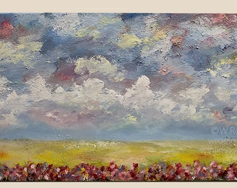 Wildflower Painting, Landscape, Original Painting, Winjimir, Home Decor, Office Decor, Wall Art, Gift, Wildflowers, Clouds, Blue Sky