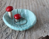 Tiny Faux Bois Double Mushroom Dish - Red on Aqua