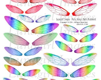 FAIRY WINGS digital collage sheet DOWNLOAD Red and Rainbows dragonfly bright altered art fairies printable fantasy magical ephemera elements