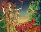 Queen of Wands Psychedelic Gypsy Goddess Tarot Art 5x7 Greeting Card Pagan Mythology Bohemian Goddess Art