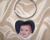 Heart Key Chain with Custom Photo - Customized Key Chain - Personalized
