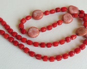 Red Coral Necklace with Jasper and Sterling Silver, Statteam
