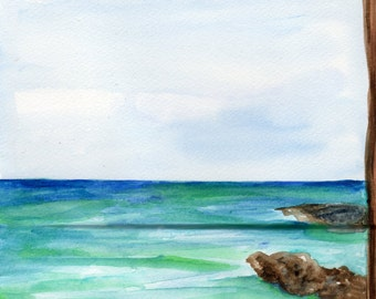 Malmok Beach, Aruba watercolor painting original, 8 x 12 inches, original ocean art, original watercolor painting of Aruba, Aruba seascape