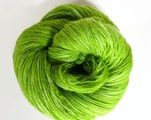 lime / hand dyed yarn / fingering sock dk bulky yarn / super wash merino wool yarn / single or ply / choose your base/chartreuse green apple
