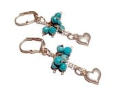 Sterling Turquoise Cluster Heart Earring