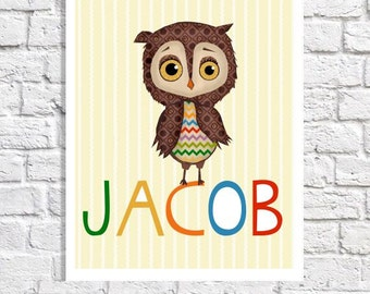 Owl Nursery Decor Baby Name Art Baby Boy Cute Owl Pictures For Nursery Print Boy Personalized Gift Personalized Kids Wall Art Owl Baby Room