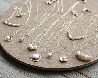 Pearl Bridesmaid Necklaces, Pearl Necklace Set, Custom Set of Pearl Necklaces, Different Unique Bridesmaid Gifts, Gold Friendship Necklaces