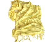 Legal Pad Print Scarf. College Ruled, Wide Ruled yellow lined paper pashmina. Attorney gift, teacher, writer, author gift. Silkscreen print.