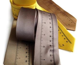 Ruler necktie. To scale measuring stick, silkscreened men's silk tie. Math teacher, woodworker, engineer gift. Choose standard or narrow.