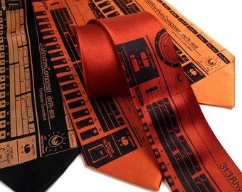 "Techno necktie. 808 sequencer, drum machine silk tie. Vintage synth tie. ""deTR-808."" Techno, electronic music, house music, hip hop gift."