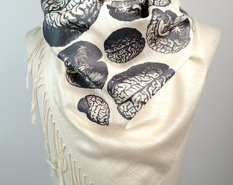 "Anatomical Brain scarf. Cream linen weave pashmina. ""Brainstorm,"" steel gray silkscreen print. More colors available! Neuroscience gift."
