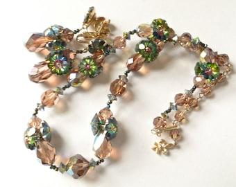Vendome necklace set.  Watermelon Margarita crystal earrings set.  Watermelon crsytal