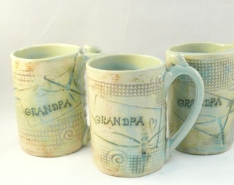 Personalized GRANDPA Mug  ceramic cup with dragonflies and hearts -   pottery mug Tankard, Beer Stein, Large Travel Mug - Teacup 16 ounce