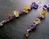 Lilac & Daffodil LUXE Earrings - Amethyst - Citrine - Gemstone - Sterling Silver - Yellow - Purple - catROCKS - Artisan - Etsy - Rocks