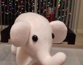 White Elephant Plush Toy - Stuffed Animal - Handmade