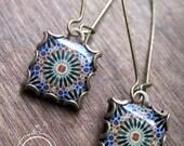 Islamic earrings, islamic jewelry, dangle earrings, Islamic tile design, Ramadan gifts, Handmade jewelry, Islamic tile design, ethnic