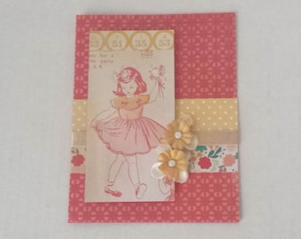 Pink Girl Vintage Retro Handmade Card  / Valentine Birthday / Blank All Occasion / Crate Paper Oh Darling