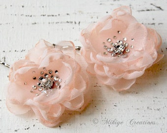 Flower Girl Hair Flowers, Bridesmaid Hair Flowers,  Bridal Mini Pale Peach Hair Flower Bobby Pins - Christie in Pale Peach