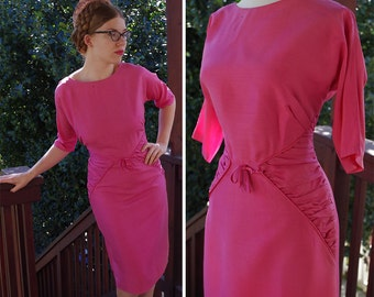 ROSE 1950's 60's Vintage Bright Pink WIGGLE Dress with Half Sleeves and Textured Ruched Sides // size Small Medium