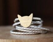 Cat Ring, sterling silver ring, silver cat ring, brass gold cat ring, kitty stacking ring