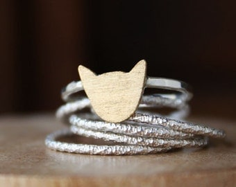 Cat Ring, sterling silver ring, silver cat ring, brass gold cat ring, kitty stacking ring