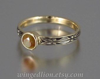 AUGUSTA 14K gold Brown Diamond engagement ring