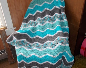 Crochet Ripple Afghan Blanket -Chevron-READY TO SHIP-Large size/ Modern/ Blue and Grays/Frozen