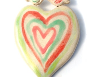 Love Birds / Sweet Tone Ceramic Love Birds Heart Wall Hanging