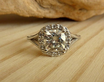 Antique Cushion Moissanite Halo Ring with Split Shank