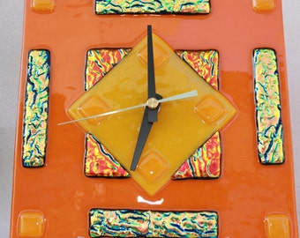 Orange and Gold Art Glass Wall Clock