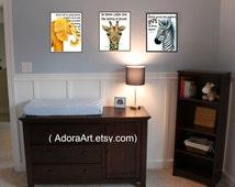 Jungle nursery prints, Zoo animal prints, wildlife kid wall art, elephant, lion, giraffe, wild animal art for kid, set of kid bedroom prints