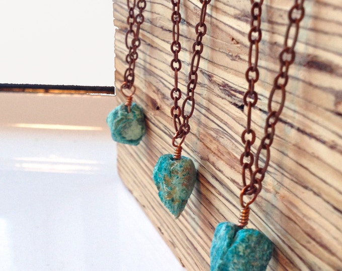 Clearance Sale: **READY TO SHIP** Minimalist Necklace. Chrysocolla.